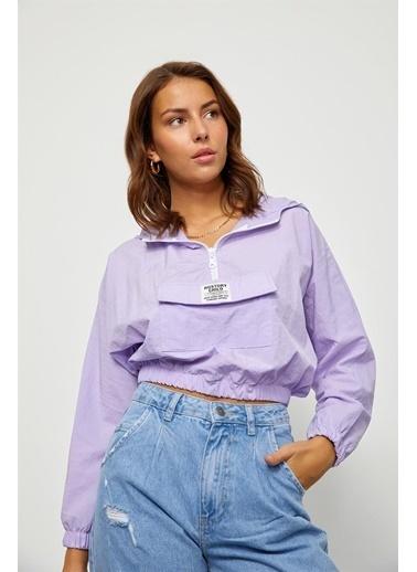 Setre Lila Kapüşonlu Crop Bluz Lila